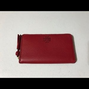 Tory Burch Leather Continental Woven Zip Wallet